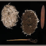 An unusual Australian Aborigine ritual kit: Kurdaitcha shoes, pointing bone, wood churinga