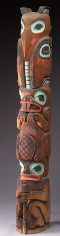 A large Northwest Coast totem pole