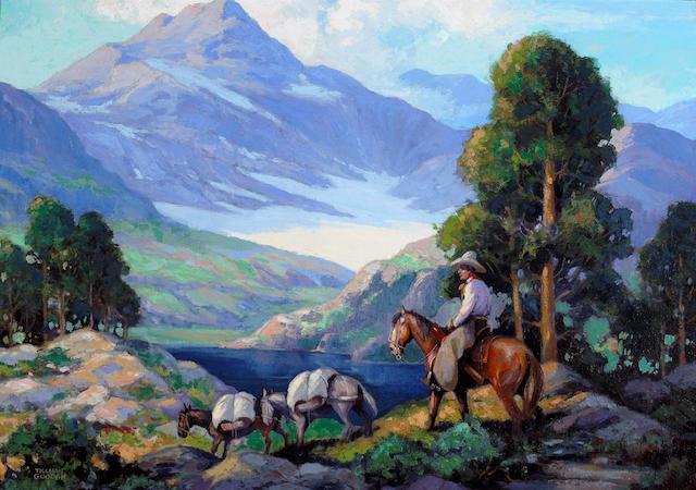 Tillman Parker Goodan (1896-1958) A Cowboy with Pack Horses 24 3/4 x 35in