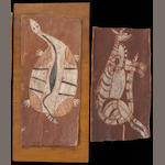Two Australian Aboriginal bark paintings