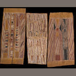 Three Australian Aboriginal bark paintings