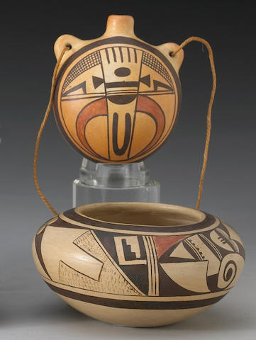 Two Hopi polychrome vessels, Fannie Nampeyo