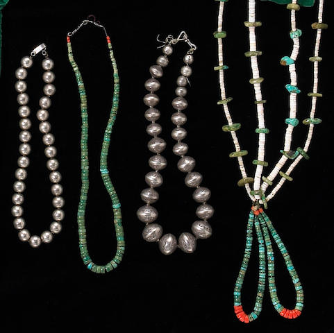 Four Navajo necklaces