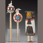A Hopi kachina doll and two dance wands