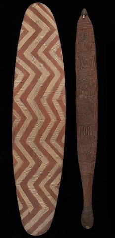 Two Australian Aborigine implements: Cape Levique shield, Well 33 area woomera