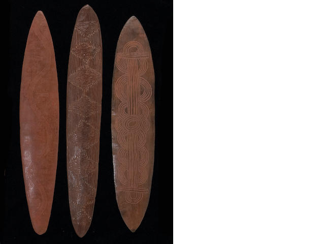 Three Central Desert Aborigine wood churingas