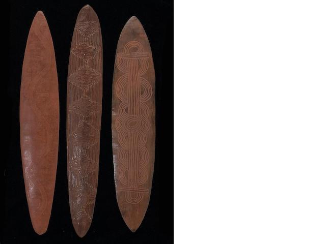 Three Central Desert Aborigine wood churingas