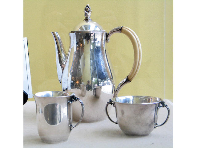 Danish Sterling and Ivory Three Piece Coffee Set by Jensen