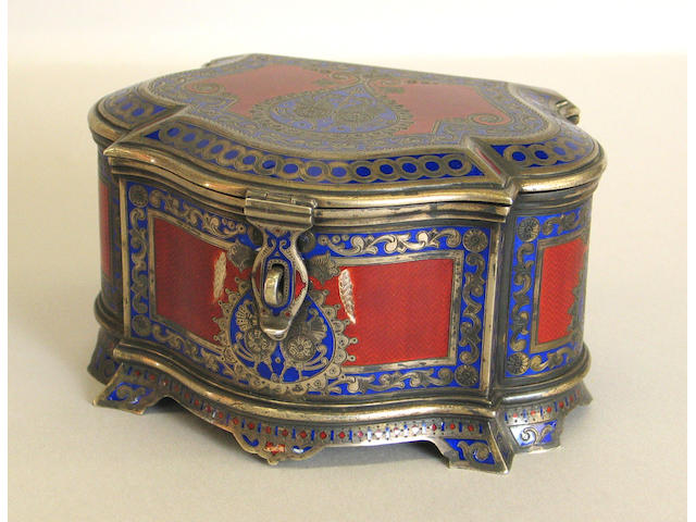 Russian Gilt Silver and Champleve Enamel Table Box Made for Tiffany & Co.