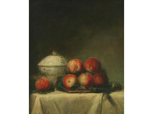 Henri Horace Roland De La Porte (French 1724-1793) Still life with peaches 21 5/8 x 18in (54.9 x 45.8cm)