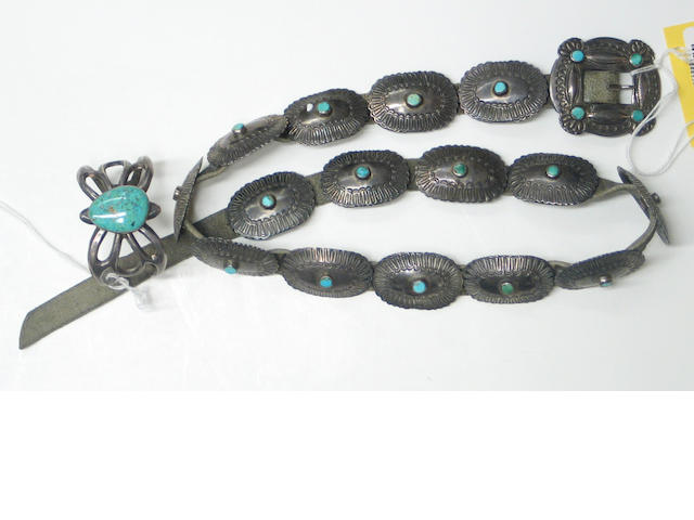 Two Navajo silver jewelry items: concha belt, bracelet