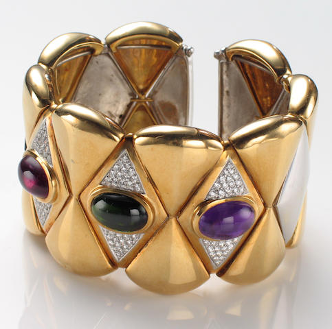 An amethyst, tourmaline, diamond and eighteen karat bicolor gold cuff bangle bracelet