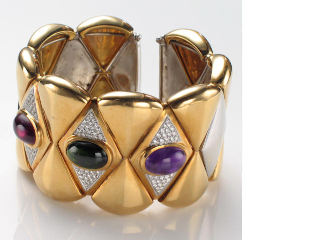 An amethyst, tourmaline, diamond and eighteen karat bicolor gold cuff bangle bracelet