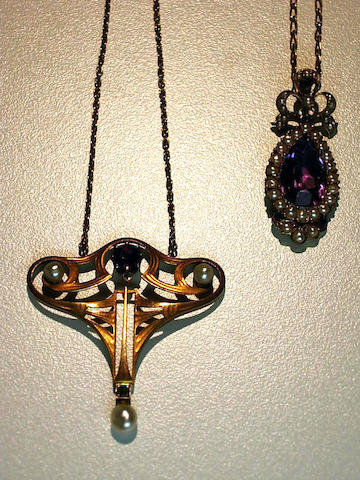 Two art nouveau gold and gem-set pendant necklaces