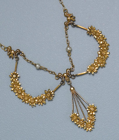 An art nouveau gold and cultured seed pearl garland necklace, French