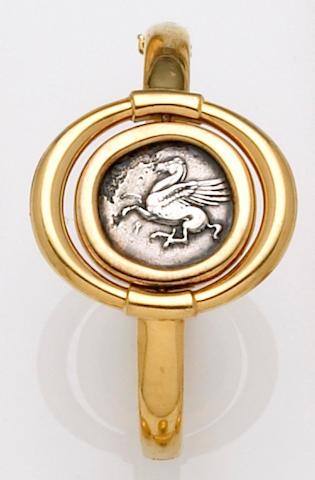 An ancient coin and eighteen karat gold bangle bracelet, Bulgari