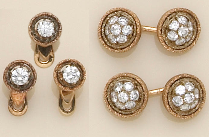 A gent's diamond and eighteen karat gold dress set, Buccellati