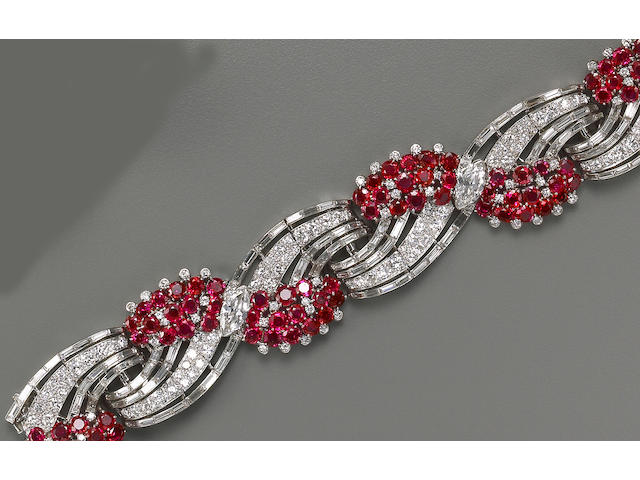 A ruby, diamond and platinum bracelet, Oscar Heyman & Brothers,