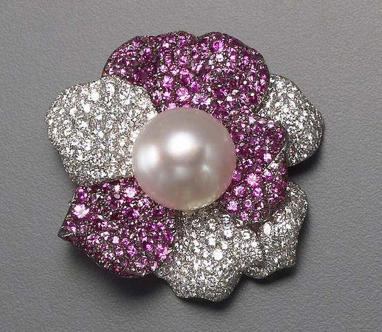 A South Sea cultured pearl, diamond, pink sapphire and eighteen karat white gold brooch, deGrisogono