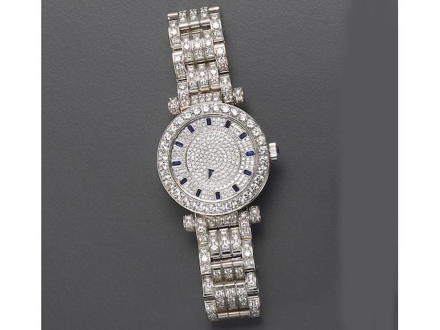 A gentleman's diamond, sapphire, and eighteen karat white gold wristwatch, Franck Muller,