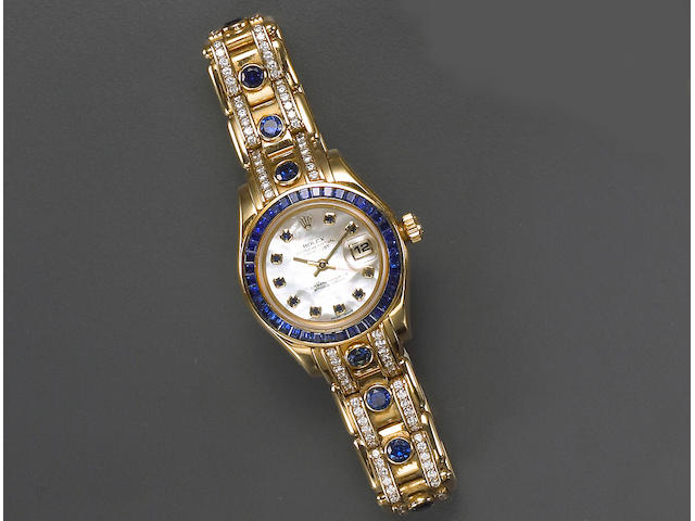 """A lady's sapphire, diamond and eighteen karat gold """"Oyster Perpetual Datejust Pearlmaster"""" wristwatch, Geneve, Rolex"""