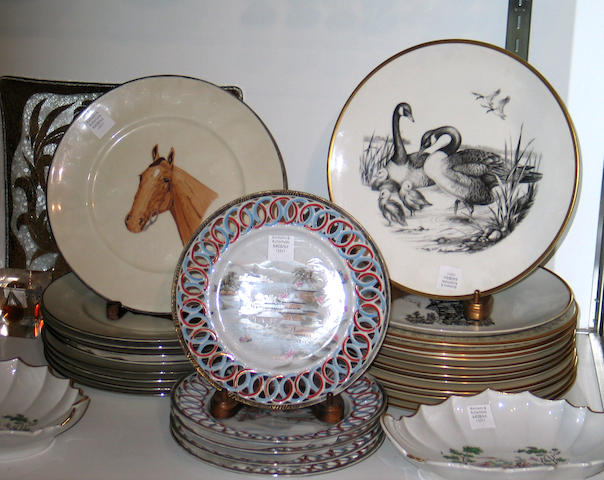 An assembled grouping of ceramics and glass