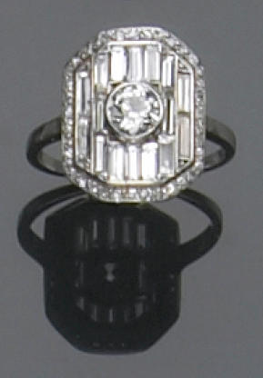 An art deco diamond and platinum ring, LaCloche Frères