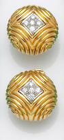A pair of diamond and eighteen karat gold earrings, Tiffany & Co.