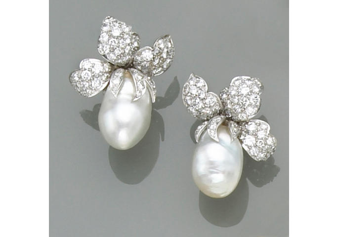 A pair of cultured pearl, diamond and platinum earrings, David Webb