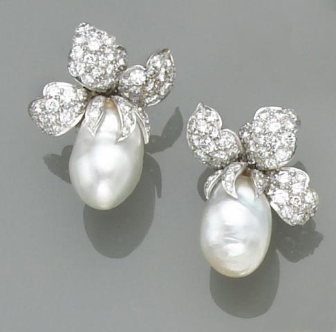 A pair of cultured pearl, diamond and platinum earrings, David Webb