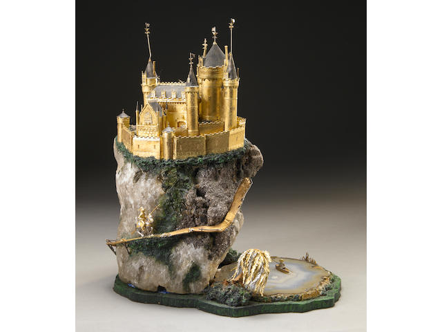 "A Gold Castle on Tourmaline, Quartz and Lepidolite Base, entitled ""The Knight Errant"", by William Tolliday."