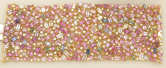 A multi-color sapphire, diamond and eighteen karat gold bracelet