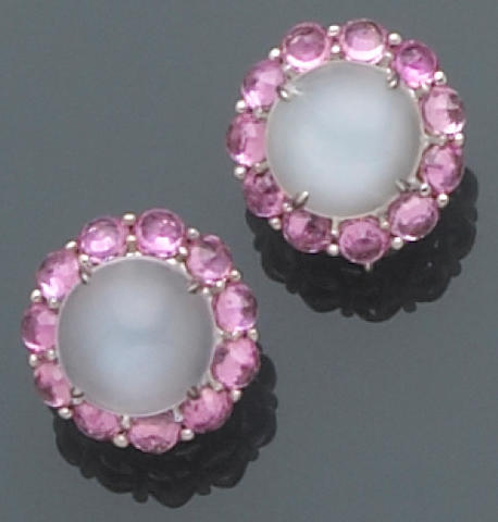A pair of moonstone, pink sapphire and platinum earrings, Paolo Costagli