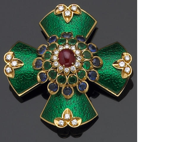 An enamel, ruby, sapphire, diamond, enamel and eighteen karat gold brooch-pendant, David Webb