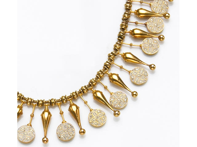A micromosaic and high karat gold necklace, Castellani,