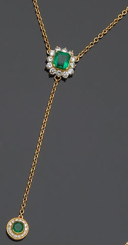 An emerald, diamond and eighteen karat gold necklace