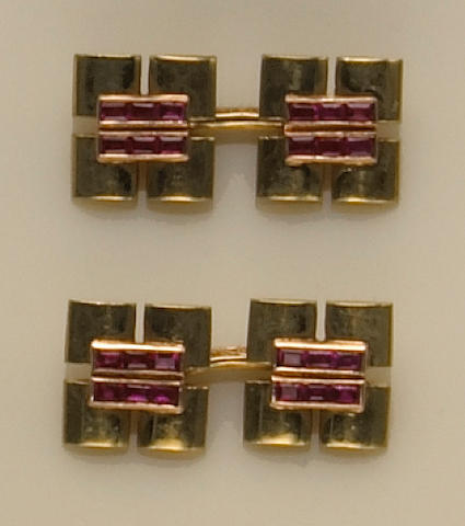 A pair ruby and fourteen karat gold cufflinks, Tiffany & Co.
