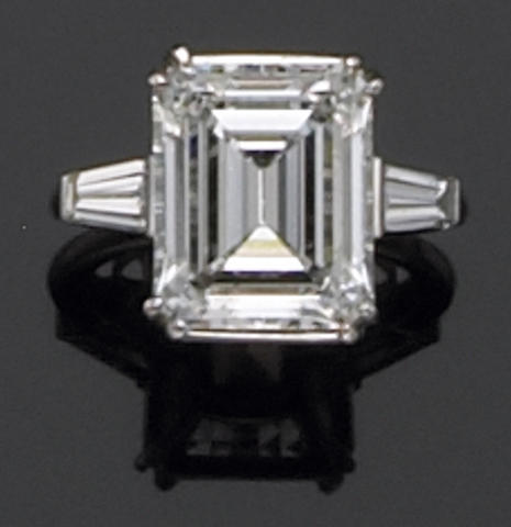 A diamond and platinum engagement ring
