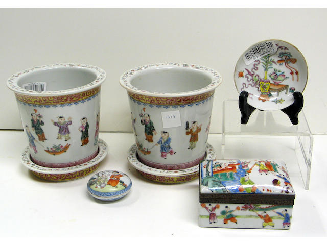 Five polychrome enameled porcelains 19th and 20th Centuries