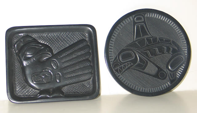 Two Haida argillite plates, signed