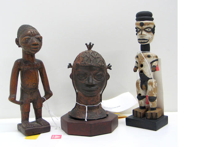 Three African items: bronze head, wood figures (2)