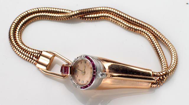 A lady's Baume & Mercier, Swiss retro 14k pink gold, platinum, diamond and ruby bracelet wristwatch,