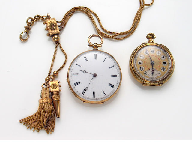 A collection of two Swiss, 18k yellow gold open face pocketwatches,