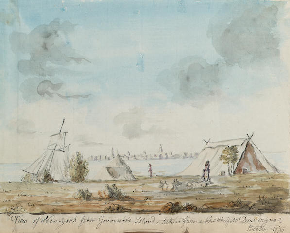 Richard Williams (British c.1750-1776) New York from the Governor's Island 17.8 x 22.8 cm. (7 x 9 in.)
