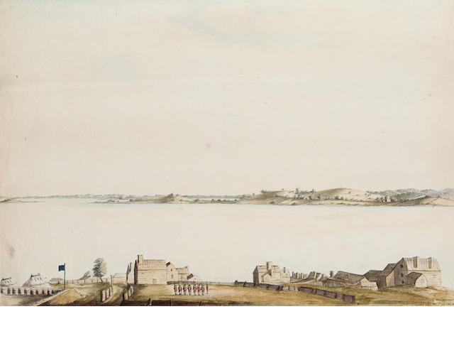 Richard Williams (British c.1750-1776 Troops on parade, the Charles River and Castle Island beyond, Boston 31.7 x 45.7 cm. (12 1/2 x 18 in.) unframed.