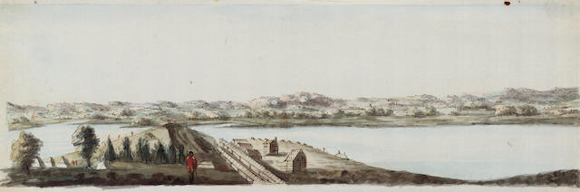 Richard Williams (British c.1750-1776) Boston: a set of five 15.2 x 47 cm. (6 x 18 1/2 in.) each together with ten pencil copies of the watercolours by the same hand, (15)