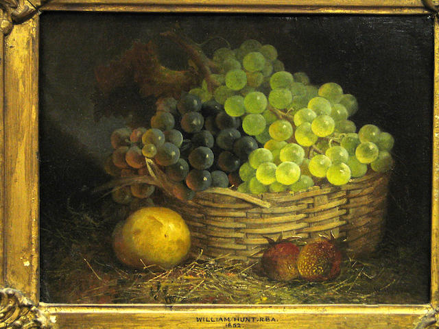 Attributed to William Henry Hunt (British 1790-1864 A still life with a basket of grapes and other fruit 9 x 12in