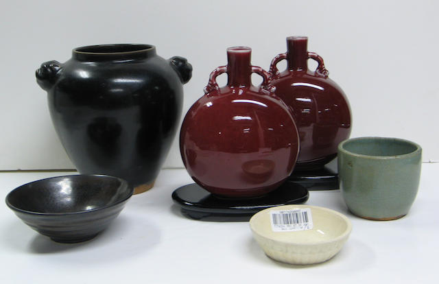 Six Chinese and Chinese style monochrome glazed ceramics