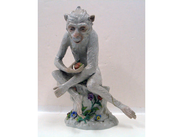 A Dresden porcelain model of a monkey