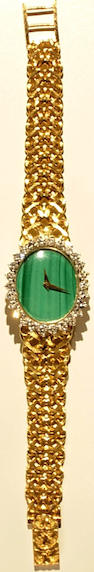 A lady's malachite, diamond and eighteen karat gold wristwatch, Ebel